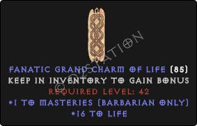 Barbarian Masteries Skills w/ 10-20 Life GC