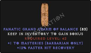 Barbarian Masteries Skills w/ 12% FHR GC