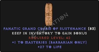 Barbarian Masteries Skills w/ 21-29 Life GC