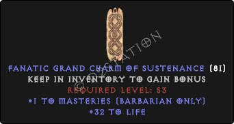 Barbarian Masteries Skills w/ 31-34 Life GC