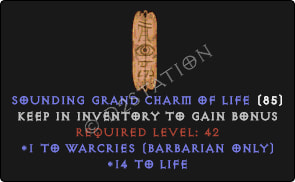 Barbarian Warcries Skills w/ 10-20 Life GC