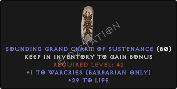 Barbarian Warcries Skills w/ 21-29 Life GC