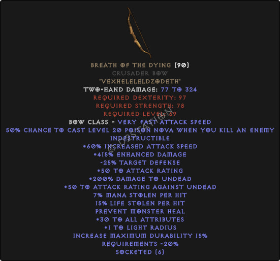 Breath of the Dying Crusader Bow - Perfect