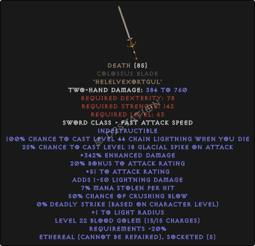 Death Colossus Sword - Ethereal - 380-399% ED