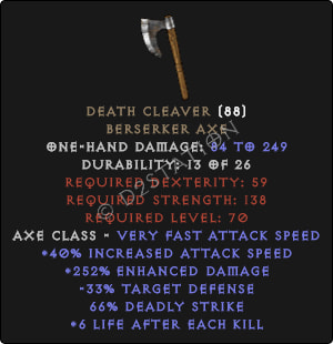 Death Cleaver - 280% ED & 6-8 LAK