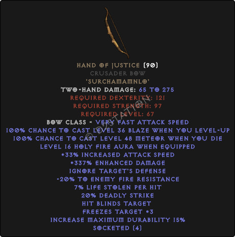Hand of Justice Crusader Bow - Perfect