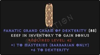 Barbarian Masteries Skills w/ 6 Dex GC