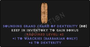 Barbarian Warcries Skills w/ 6 Dex GC