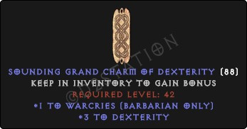 Barbarian Warcries Skills w/ 3-5 Dex GC